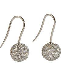 Shamballa Jewels Metallic Pave Diamond White Gold Ball Drop Earrings