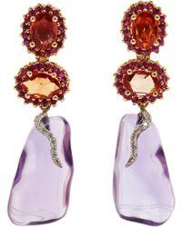 Sharon Khazzam - Orange Sapphire Amethyst Detachable Earrings - Lyst