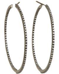 Sidney Garber Diamond Black Gold Medium Perfect Round Hoop Earrings