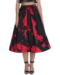 Tibi Red Paint Splatter Full Skirt