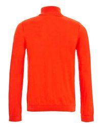 TOPMAN - Orange Roll Neck Sweater for Men - Lyst