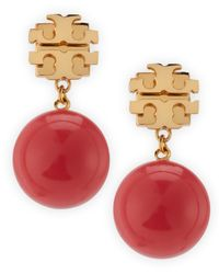 Tory Burch - Pink Evie Logo Drop Earrings Coral - Lyst