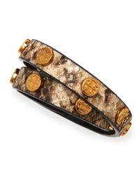 Tory Burch | Brown Logo-Studded Snake-Print Wrap Bracelet | Lyst