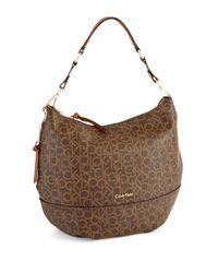 Calvin Klein Brown Hudson Monogram Hobo Bag