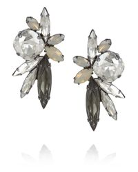 Elizabeth Cole Metallic Elson Hematite Plated Swarovski Crystal Earrings