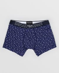 Emporio Armani - Blue Underwear Printed Microfiber Trunks for Men - Lyst