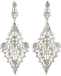 I Am Ileana Makri White Gold Filigree Diamondshaped Earrings