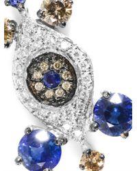 Ileana Makri - Blue Diamond Sapphire White Gold Drop Earrings - Lyst