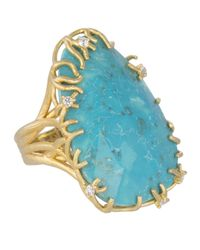 Kendra Scott Blue Large Branch-Bezel Ring