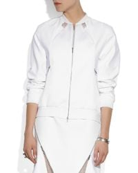 Richard Nicoll - White Mesh-Paneled Cotton Bomber Jacket - Lyst