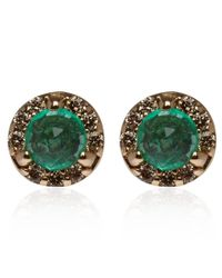 Anna Sheffield Metallic Tiny Gold Emerald and Diamond Rosette Stud Earrings