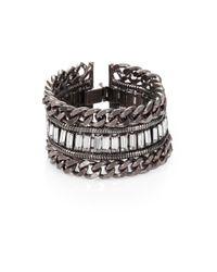 DANNIJO - Metallic Swarovski Crystal Oxidized Silver Chain Cuff Bracelet - Lyst