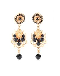 Dolce & Gabbana | Black Bead and Crystalembellished Clipon Earrings | Lyst