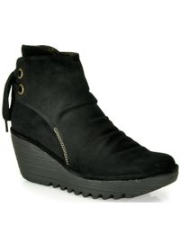 Fly London - Black Yama - Suede Wedge Booties - Lyst