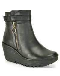 Fly London | Black Yava Leather Wedge Bootie | Lyst
