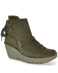 Fly London | Green Yama Suede Wedge Bootie | Lyst