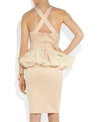 Hakaan Natural Viscum Jersey and Tulle Peplum Dress