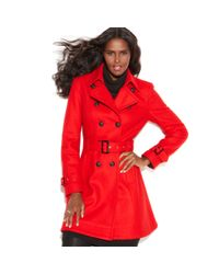 INC International Concepts | Red Wool Blend Belted Trench | Lyst
