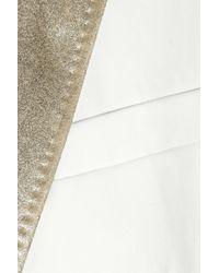 JOSEPH White Metallic Leathertrimmed Twill Blazer
