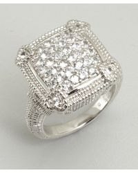 Judith Ripka - Metallic White Sapphire Pave Linen Cushion Ring - Lyst