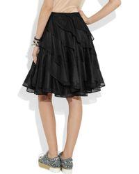 Junya Watanabe Black Reversible Ruffled Mesh and Taffeta Circle Skirt