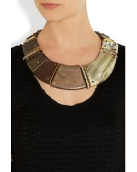 Lanvin - Brown Iliade Goldtone Horn and Wood Collar Necklace - Lyst