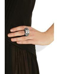 Lanvin - Metallic Silver Tone Swarovski Crystal Ring - Lyst