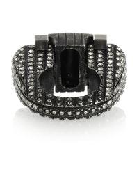 Lanvin Metallic Silver Tone Swarovski Crystal Ring