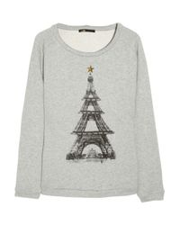 Maje | Gray Eiffel Tower Cotton Sweatshirt | Lyst
