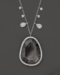 Meira T - Metallic 14k White Gold Diamond and Black Rutilated Quartz Necklace - Lyst