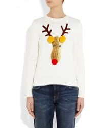 Moschino | White Reindeer Appliquéd Knitted Wool Sweater | Lyst