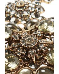 Oscar de la Renta - Gray Goldplated Crystal Necklace - Lyst