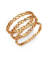 Oscar de la Renta | Metallic Swarovski Crystal Bangle Set | Lyst
