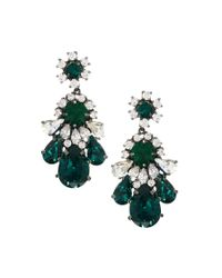 Shourouk | Green Teardrop Crystal Earrings | Lyst