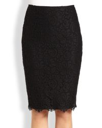 St. John Black Lace Pencil Skirt