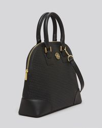 Tory Burch Black Satchel Robinson Perforated Small Dome