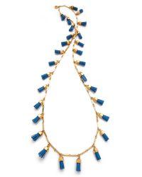 Tory Burch Metallic Leather Tassel Paillette Necklace
