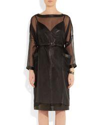Valentino Black Leather Trimmed Silk Organza Dress