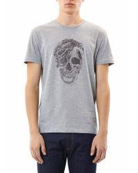 Alexander McQueen Gray Tattoo Snake Skull Print Tshirt for men