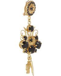 Dolce & Gabbana Metallic Pizzo Nero Goldplated Swarovski Crystal Clip Earrings