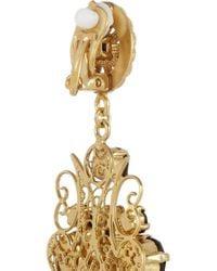 Dolce & Gabbana - Metallic Pizzo Nero Goldplated Swarovski Crystal Clip Earrings - Lyst