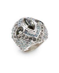 Judith Leiber Metallic Domed Pavé Crystal Cocktail Ring