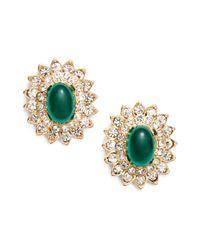 Kenneth Jay Lane Metallic Jeweled Oval Earrings