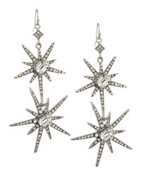 R.j. Graziano - Green Doublestar Pave Earrings - Lyst
