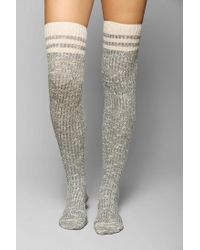 Urban Outfitters | Gray Marled Varsity Stripe Overtheknee Sock | Lyst