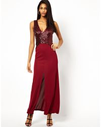 ASOS | Red Sequin Deep Plunge Maxi Dress | Lyst