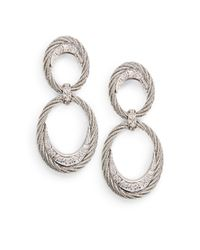 Charriol - Metallic Diamond 18k White Gold Stainless Steel Cable Drop Earrings - Lyst
