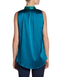 Elie Tahari | Blue Silk Blend Print Blouse | Lyst