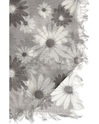 Marc Jacobs Gray Daisy Printed Wool and Silkblend Scarf