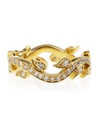 Penny Preville Metallic Diamond Interlock Leaf Ring Yellow Gold Size 6
